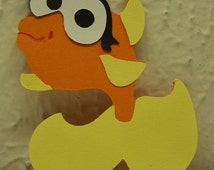 "Elmo's goldfish Dorothy (1) large 8""x7.5"" Sesame Street decoration centerpiece wall hanging Elmo birthday die cut party favors fish face"