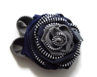 Grey and Navy Zipper Brooch Embellishment One Of A Kind Sewn With Vintage Zippers To Enhance anything that you can imagine handmade