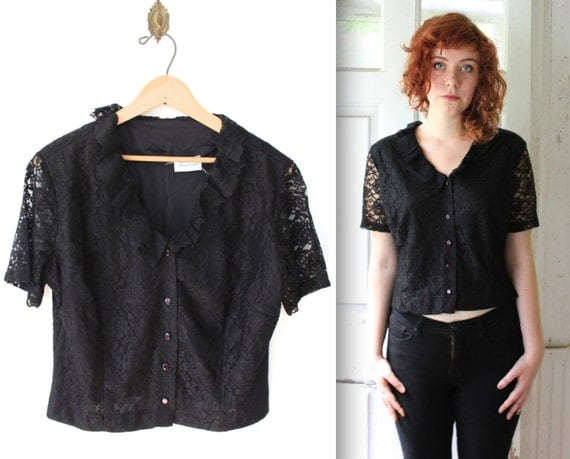 vintage black lace blouse. Large / 1960s cropped floral lace top. Sheer sleeve ruffled shirt. 60s romantic top / the BLACK MARTINI top