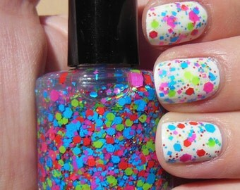 Bright Neon Glitter Indie Nail Polish Top Coat Lacquer Handmade 2 Sizes Available