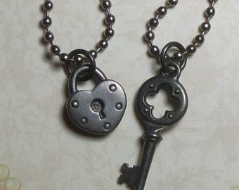 Lock and Quatrefoil Key Couples Necklaces Gunmetal Black Oxide Colored Pewter - Couples Lock and Key Necklaces - Couples Jewelry