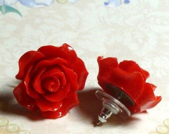 Red Rose Earrings - Red Rose Resin Flower Surgical Steel Post Earrings - Large - Red Rose Jewelry