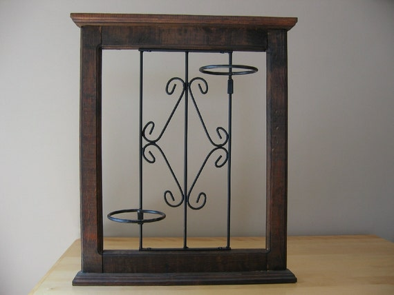 Wrought Iron Wall Decor With Wood Frame : Vintage wood frame wrought iron wall hanging plant holder