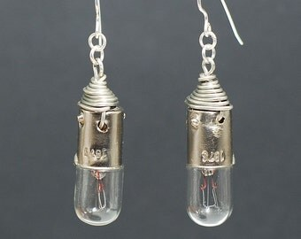 Steampunk Earrings- Silver Upcycled Light Bulb Earrings, Steampunk Jewelry, Industrial Jewelry, Lightbulb Earrings, Cyberpunk Jewelry