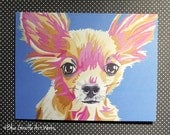 Note Card Stationery Set of 5 Folded Cards with Envelopes- Long Haired Chihuahua