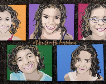 """8x10"""" Custom People Portraits that POP- Hand-painted in acrylic on canvas"""