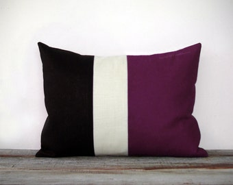 Eggplant Colorblock Stripe Pillow in Cream and Black Linen by JillianReneDecor - Modern Home Decor - Striped Trio - Purple