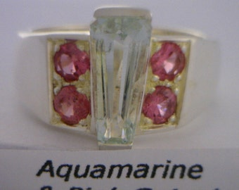 Light Blue Aquamarine and Pink Spinel Handmade Silver Unisex Ring size 9.25