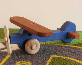 Toy Blue Airplane - Handcrafted Wooden Toy Blue Airplane