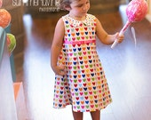 SWEET HEARTS dress with peter pan collar- Available sizes 2T -8