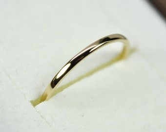18K Yellow Gold Skinny 1mm Wedding Band or Fashion Ring, Sea Babe Jewelry