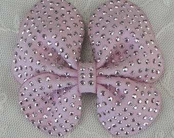 Beaded Bow Applique 3.5 inch Lt Pink Suede Leather Embellished w Stones Butterfly Hair