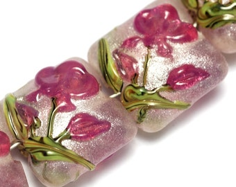Four Fuchsia Flower Handmade Glass Pillow Beads - Lampwork Glass Bead Set 10109314