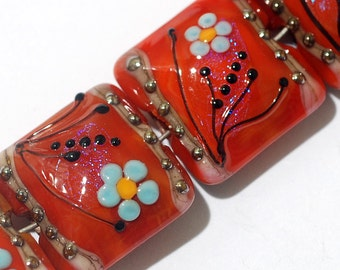 10706514 Four Vintage Floral Pillow Beads - Handmade Grace Lampwork Beads