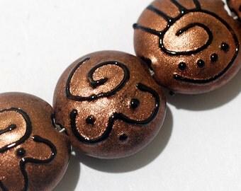 Glass Lampwork Bead Set - Seven Copper Pearl Surface w/Black Swirl Lentil Beads 11204402