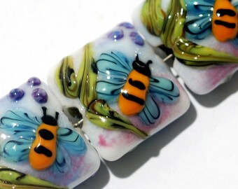 Glass Lampwork Bead Set - Seven Bumble Bee Dreams Pillow Beads 11007404