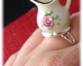 Cute Geeky Pitcher Ring Roses One of a Kind Punk Ring Tea Party Ring FREE SHIPPING 79132