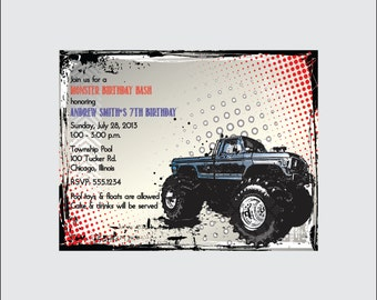 Monster Truck Birthday Invitation (set of 10)
