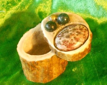 Leopard Skin Jasper Moss Agate Carved Shed Elk Antler Goddess Box Medium Size Cruelty Free Enchanted Etsy OlyTeam