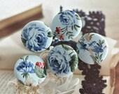 "Handmade Large Victorian Dark Light Blue Floral Rose Fabric Covered Buttons Floral Fridge Magnets, Flat Backs, 1.25"" 5's"