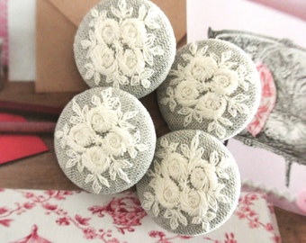 Handmade Victorian Country Wedding Off White Gray Grey Floral Flower Rose Lace Fabric Covered Buttons Fridge Magnets, Flat Backs, 1.2's 5's