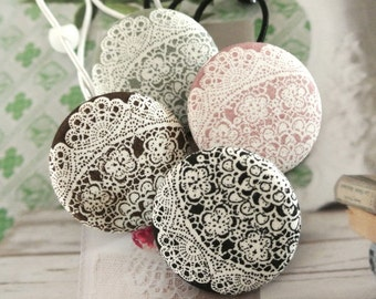 Button Ponytail Holders, Big Retro Black Brown Pink Green Floral Lace Ponytail Holder, Retro Ponytail Holder, Girl Ponytail Holder 4's