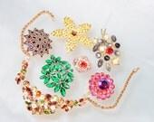Vintage Jewelry Lot Crafts Repair Parts Rhinestones