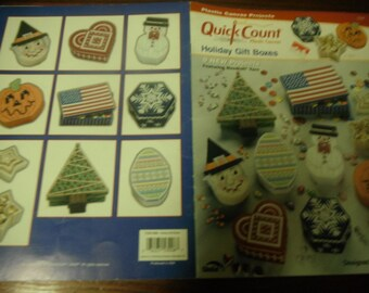 Plastic Canvas Pattern Holiday Gift Boxes Quick Count Needlecraft Shop 53008 Plastic Canvas Pattern Leaflet
