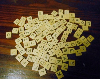 Lot of 100 Wooden 1953 Edition Scrabble Tiles Wood Tile