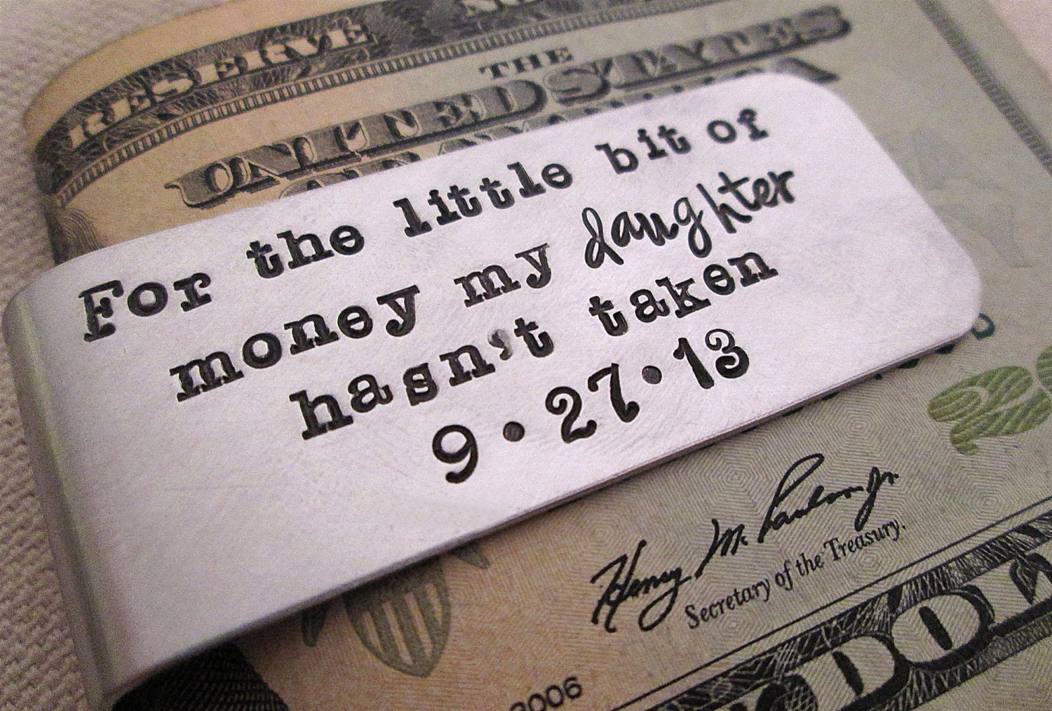 Father of the Bride Gift Personalized Money Clip Aluminum