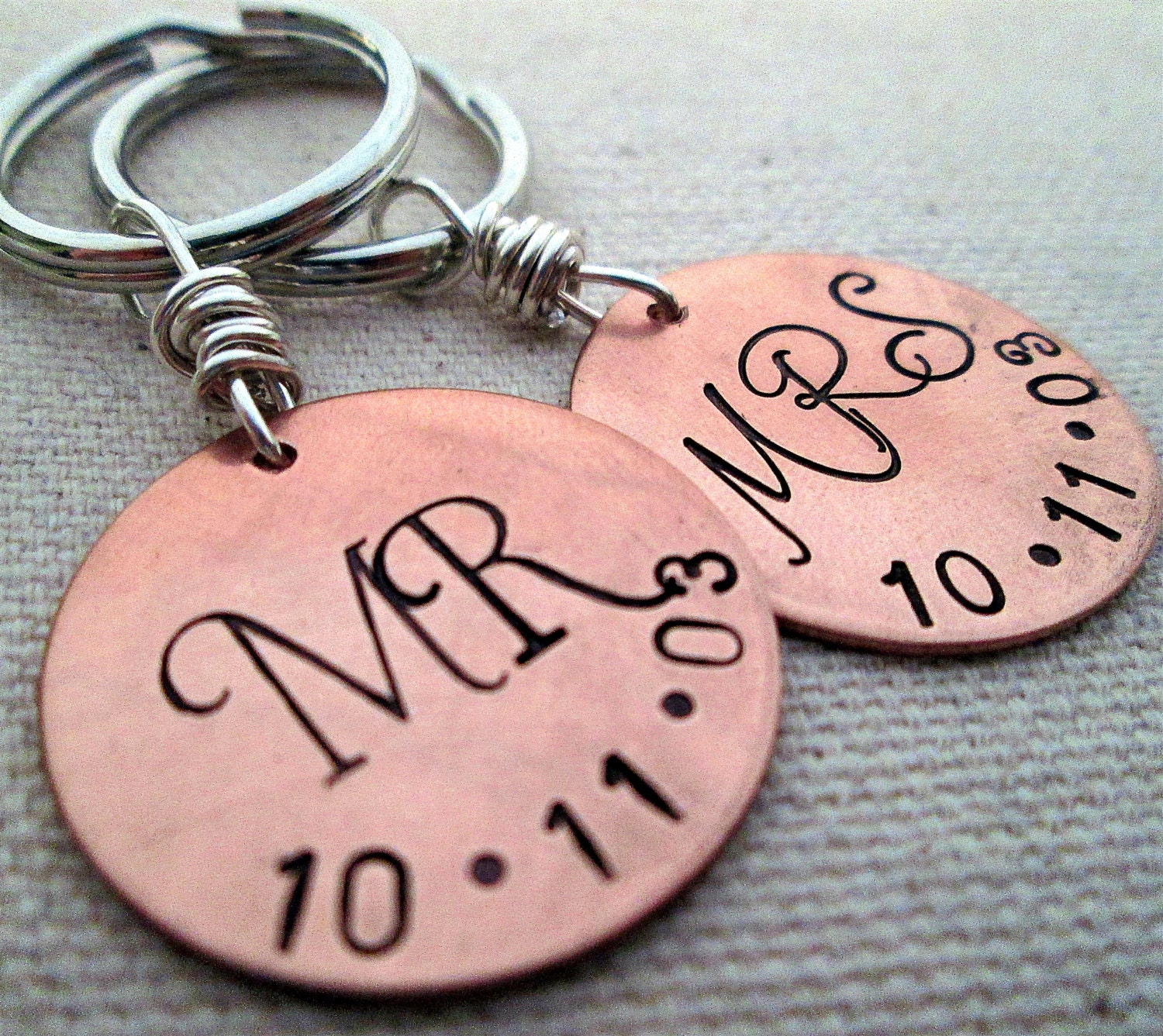 Mr. and Mrs. Key chain set - Personalized Keychain - Hand stamped ...