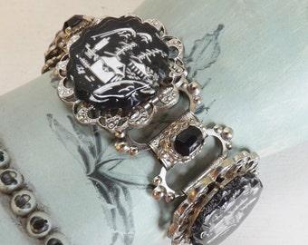 Vintage Asian bracelet pagoda bracelet scene bracelet glass intaglio bracelet silver tone with black rhinestones bracelet