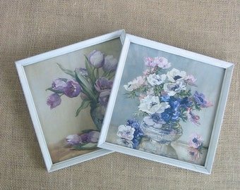 Vintage Pair Floral Prints Shabby Cottage Chic White Purple