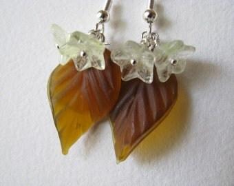 Mocha Brown Flower Earrings. Brown Leaf Earrings