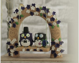 Owls with love flower tree and a swing cake topper----k517