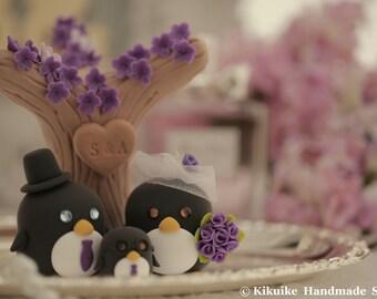 penguins  with sakura tree and butterflies Wedding Cake Topper (K449)