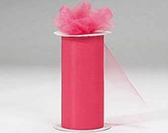 6 inch x 75 ft NYLON TULLE - Coral  (only 2.25per roll)