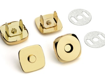 50 Sets Square Magnetic Purse Snaps - Closures 18mm Gold - Free Shipping (MAGNET SNAP MAG-149)