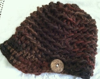 Custom Made Double Yarn backtrack newsboy beanie brimmed crocheted hats
