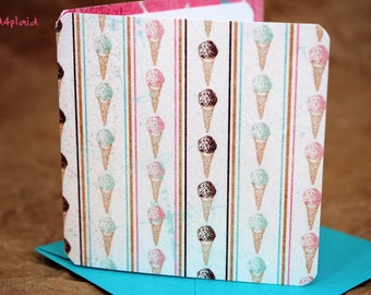 Blank Mini Card Set of 10, Vintage Ice Cream Design with Contrasting Sprinkles on the Inside, Aqua Envelopes, mad4plaid