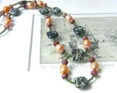 Autumn Colors Green Necklace, Green Jasper Necklace, Trending Fall Color Orange Pearl Necklace, Natural Gemstone Necklace, Earthy Necklace