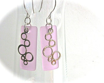 Pink Earrings, Sea Glass Earrings, Sterling Silver Earrings, Sterling Silver Dangles, Geometric Jewelry, Pale Pink Jewelry,  Gift for Her