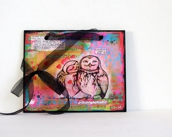 Owls Wall Art-Mixed Media Print-Rainbow Colors-Ready to Hang Valentines for 25