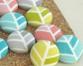 Herringbone. Chevron. . . 16 Fabric Push Pins. Decorator Thumbtacks. Organic.