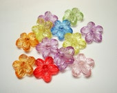 Assorted Transparent Acrylic Flower Beads (Qty 12) - B1967