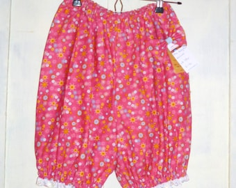 Pink Flower Party kawaii bloomers in pink with broiderie anglais trim - Free Bow UK 6 8 10 12 On Sale