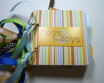 Boy's Mini Scrapbook Album, Boys Mini Album, Boys and Toys Album, Boys photo Album, Boys Brag Book, Boys Scrapbook, Chipboard Album