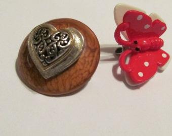 Butterfly heart brooch
