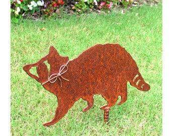 Raccoon Metal Garden Stake - Metal Yard Art - Metal Garden Art - Rustic - Rusty