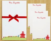 Teacher Stationery Set - Mrs. Bird Teacher School House Stationery Set